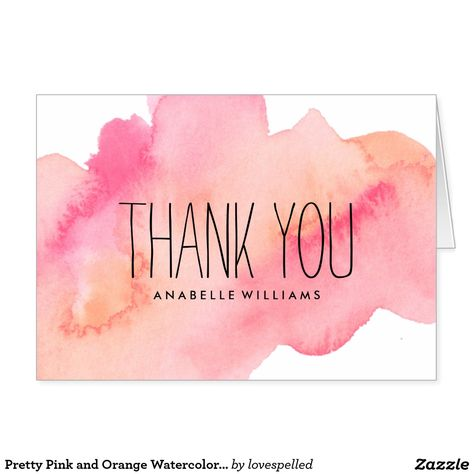 Pretty Pink and Orange Watercolor Wash Card