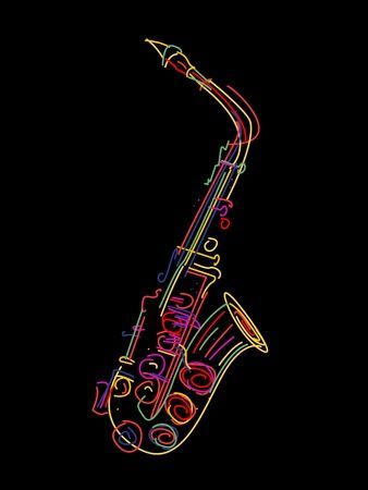 Ilustración de un saxofón sobre negro