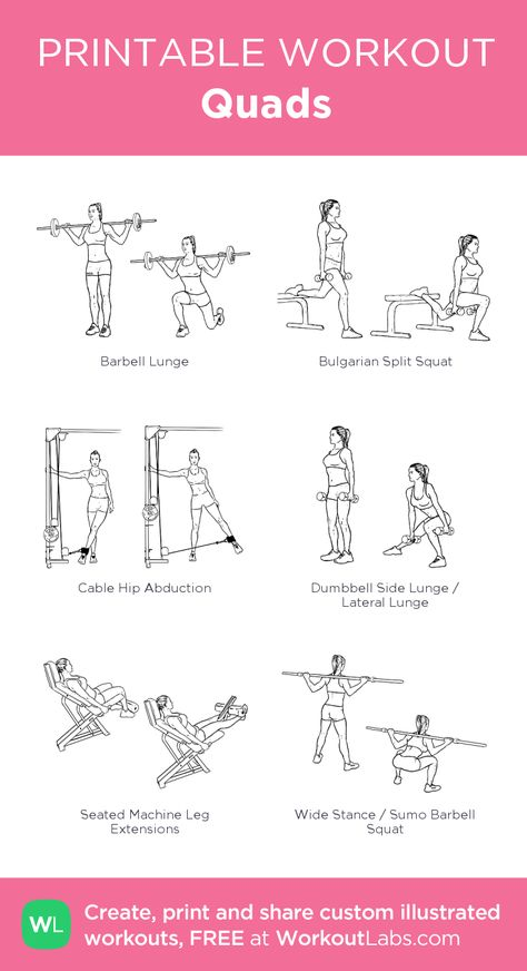 Quads: my visual workout created at WorkoutLabs.com • Click through to customize and download as a FREE PDF! #customworkout