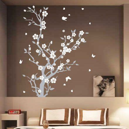 Large Large Vine Flower Butterfly Wall stickers / Wall decal-White Amazon.co.uk Kitchen u0026 Home | Bedroom ideas | Pinterest | Butterfly wall stickers ... : sticker wall art uk - www.pureclipart.com