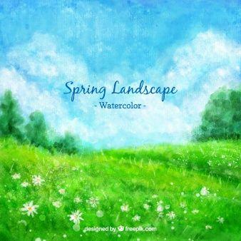 Spring Paysage Vert Photos Gratuites Et Idees D Aquarelle