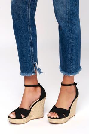 Nixie Black Wedge Sandals Espadrilles Wedges Suede Espadrille Lace Up Espadrille Wedges