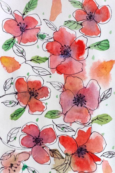 Watercolor Ideas Easy Flowers : watercolor, ideas, flowers, Painting, Ideas, Water, Watercolor, Paintings, Easy,, Beginners,, Flowers