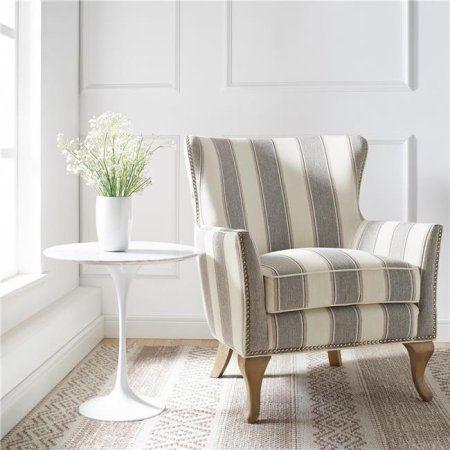 Dorel Living Reva Living Room Accent Chair Gray Stripe Walmart Com Dorel Living Living Room Accents Accent Chairs For Living Room