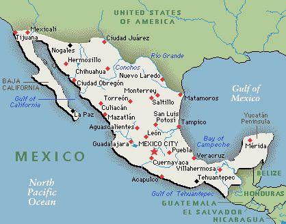 Mexico Map mapa | Paises Hispanos | Cuernavaca, Cozumel ...