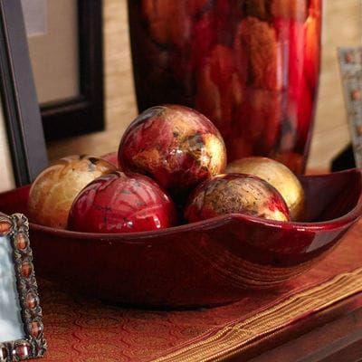 Red Gold Foil Decorative Sphere Decorative Spheres Decorative Bowls Red Foil