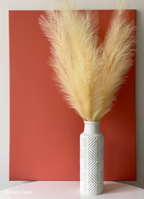 Milen Decor's hand-wrapped tall stems of faux pampas grass are the perfect decorative piece for any room or style. Add drama, dimension, and texture with no-maintenance display of evergreen faux pampas grass in your living room, hallways, dining room, bedroom or kitchen. Our team spent months researching best options with faux pampas grasses and are proud to offer this set. These look natural, move in the light breeze, and shine with natural light. Each order comes with 3, 43-inch tall fluffy st Pampas Grass, Hand Wrap, True Colors, Evergreen, Natural Light, Texture, Living Room, Flowers, Vase