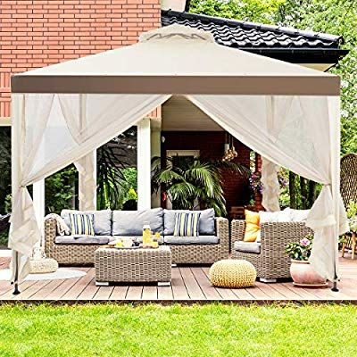 Amazonsmile Tangkula 10 X 10 Canopy Gazebo Tent Shelter Art Steel Frame Garden Lawn Patio House Party Canopy Home Patio Garden Gazebo Tent Patio Tents Patio