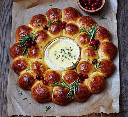 brioche centrepiece with baked Camembert