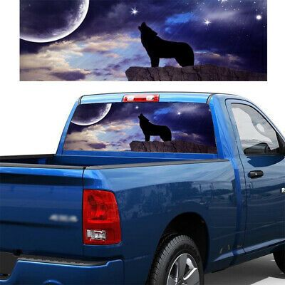 Moon black /& white Wolf Painting  Rear Window Graphic Decal  Truck Van