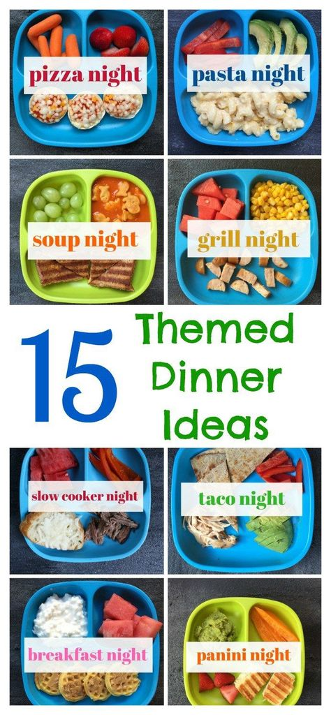 These themed dinner ideas make meal planning a breeze! By designating a certain theme to each night of the week, you can keep structure to your family's meal plan! meal planning 15 Themed Dinner Ideas [My Favorite Way to Meal Plan Dinners For Kids, Meals For The Week, Dinner Ideas For Toddlers, Toddler Dinners, Meals For Toddlers, Kids Dinner Ideas Healthy, Kids Meals Ideas, Meals For Babies, Toddler Dinner Recipes