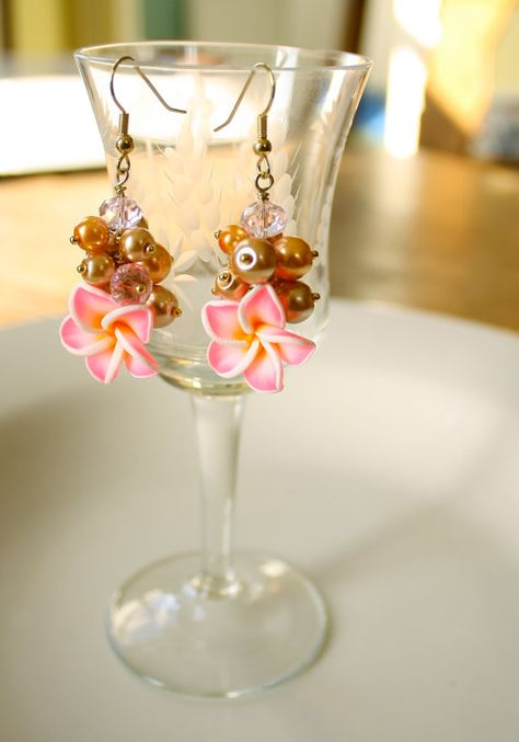 Gold Pearl Lei Necklace with Pink Plumerias  Earrings by Montrigue, $39.00