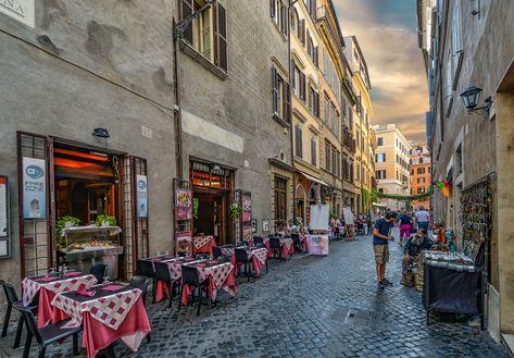 caf, european, italian, italy, old, outdoor, restaurant, roma ...
