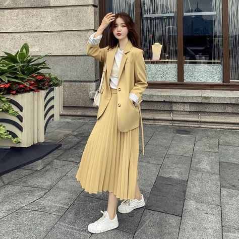 Casual Dress Suit - Yellow suit / S