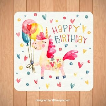Geburtstagskarte Mit Aquarell Einhorn Und Herzen