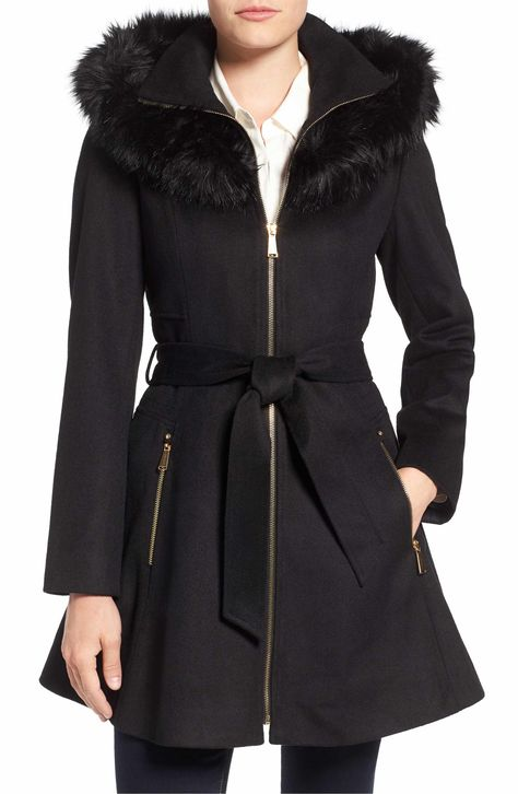 Laundry By Shelli Segal Belted Fit Flare Coat With Faux Fur Trim