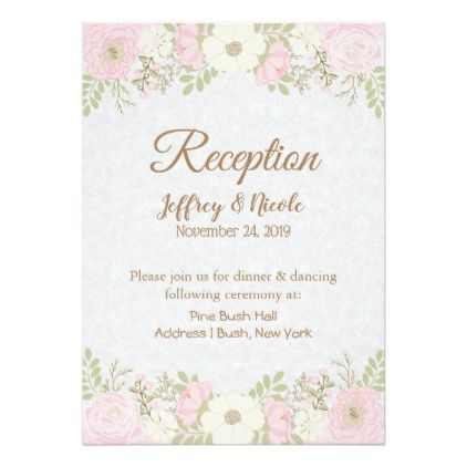 Pink Mason Jar Flower Wedding Reception Card Chic Design Idea Diy Elegant Beautiful Pink Wedding Invitations Wedding Reception Cards Wedding Invitations Diy