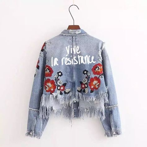 Vive La Résistance- Long Live the Résistance!  Customize your jacket with a word or phrase that is meaningful to you!!  Sizing Information: Approximately S- Length: 45cm Sleeve: 51cm Bust: 100cm Shoulder: 38cm  M- Length: 46cm Sleeve: 52cm Bust: 104cm Shoulder: 40cm  L- Length: 47cm