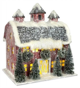 Small Red Village House Property Of Traditions 2018 Red Christmas Decor Vintage Christmas Decorations Christmas Decorations