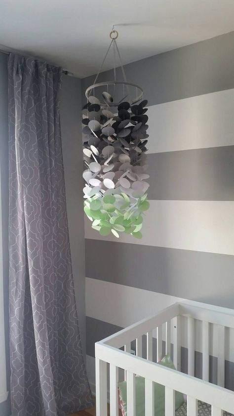 Paper Mobile Mint Navy Dark Gray Pale Gray And White Boys Room