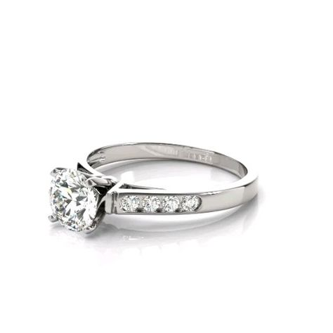 Forever One colorless D-F moissanite and genuine diamond sides. #50314