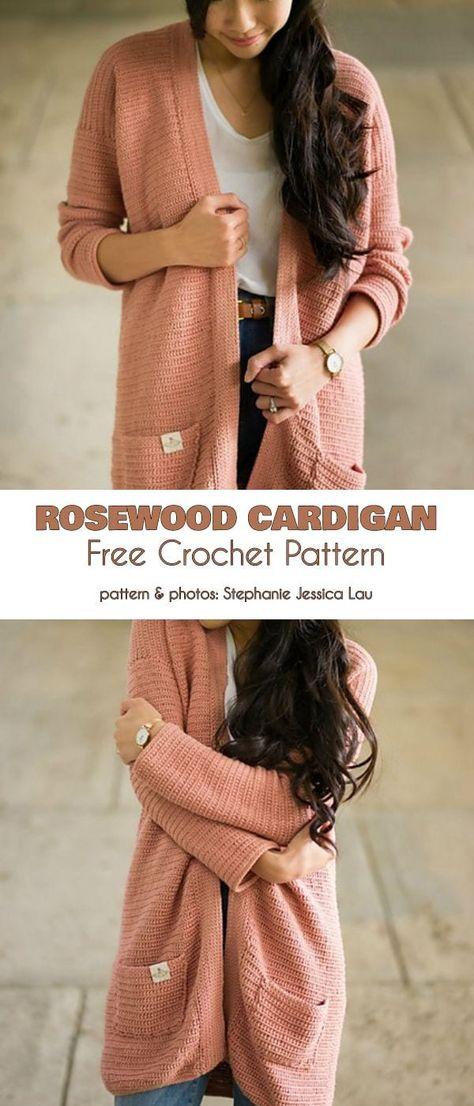 Rosewood Cardigan Free Crochet Pattern The Rosewood cardigan is a long, casual s. Rosewood Cardigan Free Crochet Pattern The Rosewood cardigan is a long, casual sweater you can wear every day, with any . Pull Crochet, Mode Crochet, Cardigan Au Crochet, Crochet Shawl, Fall Cardigan, Knit Crochet, Crochet Jacket Pattern, Crochet Sweaters, Crotchet