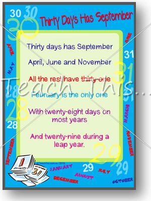 photo regarding 30 Days Has September Poem Printable identified as Bronwen Harding (bronwenharding) upon Pinterest