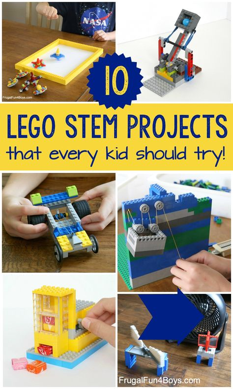 10 LEGO STEM Projects that Every Kid Should Try! – Frugal Fun For Boys and Girls Let's do some LEGO STEM projects! Build catapults, pulleys, candy machines, spinning tops, and more! Lego Math, Lego Craft, Lego Minecraft, Lego Batman, Lego Duplo, Lego Candy, Lego Activities, Indoor Activities, Educational Activities