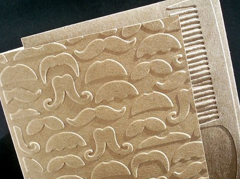 Mustache Note Card Set Embossed Masculine by AuriesDesigns on Etsy, $9.00