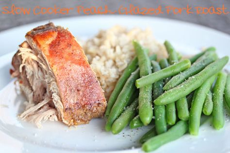 Part of our 31 Days of Slow Cooker Meals: Peach Glazed Pork Roast | 5DollarDinners.com