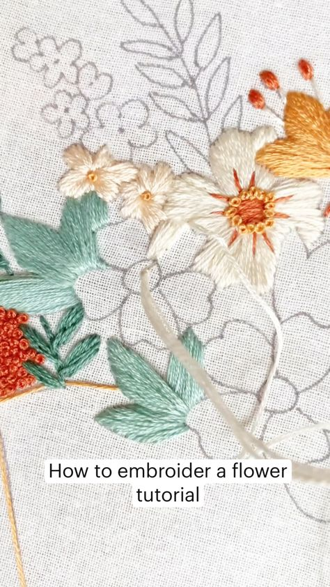 How to embroider a flower tutorial