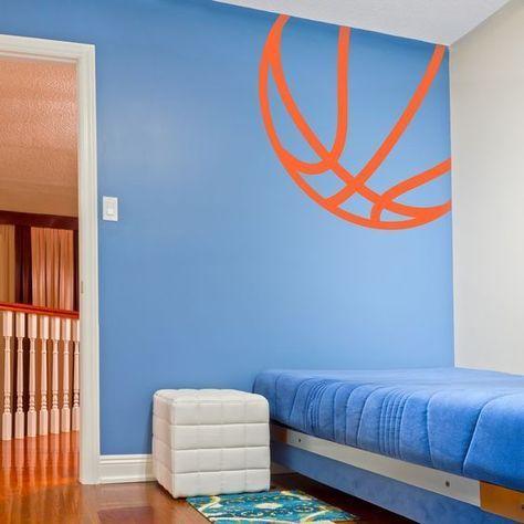Corner Basketball Wall Art Decal Basketball Room Decor Basketball Themed Bedroom Basketball Room