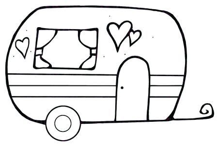 Camper Coloring Pages Camper Happy Camper Digital Stamp Camper