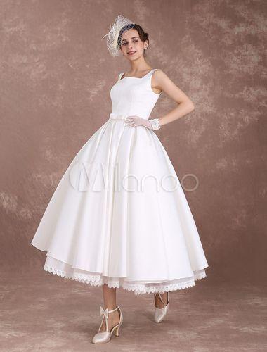 White Wedding Dresses Short Vintage Bridal Dress 1950 S Satin