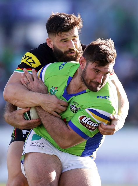 Dave Taylor of the Raiders takes on the defence during the round 24 NRL match between the Canberra Raiders and the Penrith Panthers at GIO Stadium on August 2017 in Canberra, Australia.
