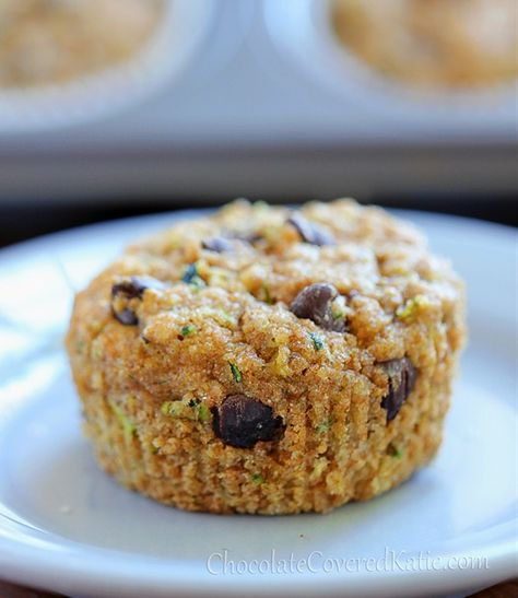 Chocolate Chip Zucchini Bread Muffins - these are SUPER healthy and sweet and delicious!