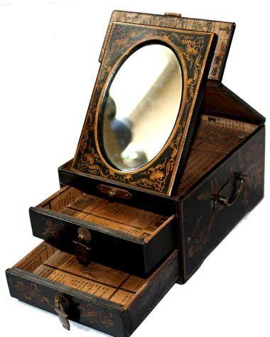 Vintage jewel box in mirror