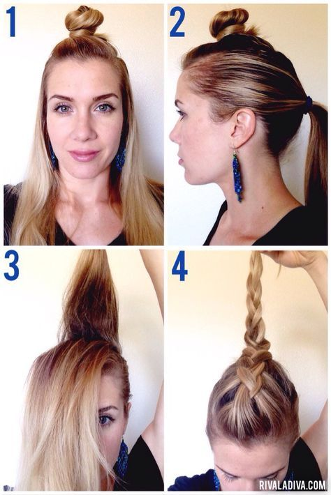 Diy Faux Hawk Tutorial Long Hair The Braid Should Be Stopped Far Enough To Go Into A Braid Long Hair Styles Braids For Long Hair Edgy Long Hair