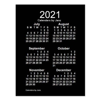 2021 Neon White 6 Month Mini Calendar By Janz Postcard Zazzle Com Mini Calendars Custom Calendar Holiday Card Diy