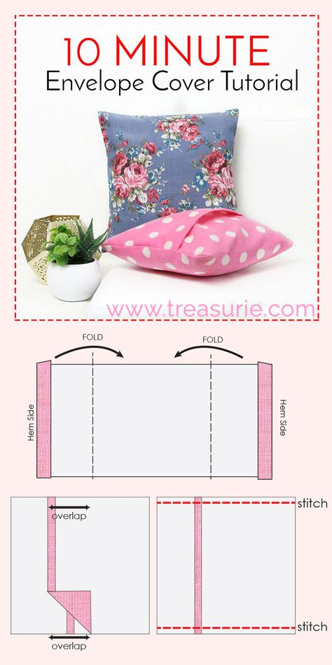 How to Make Cushion Covers - DIY Envelope Cover 10 Mins   TREASURIE