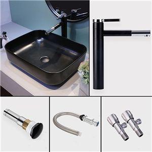 洗面ボール 手洗い鉢 洗面器 手洗器 洗面ボウル 陶器 角型 黒色 排水栓