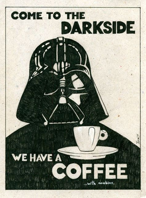 Coffee is dark.