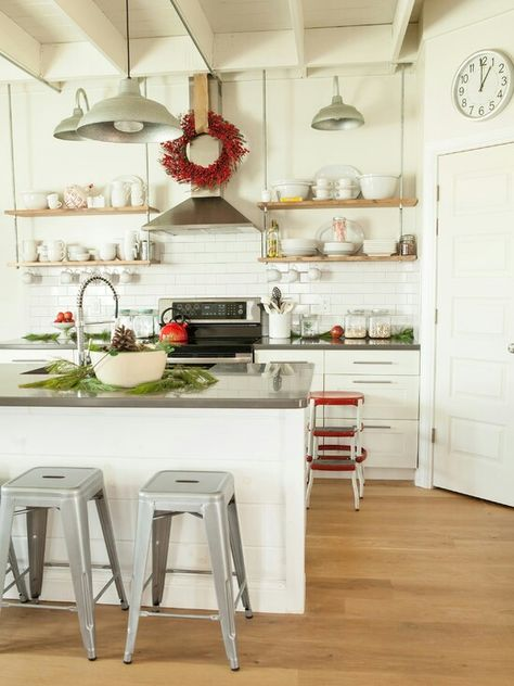 clean country kitchen w open shelves instead of cabinets on kitchen shelves instead of cabinets id=39520