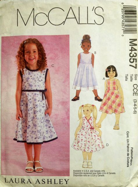 a5cbd9284b7f McCall's M4357 UNCUT Laura Ashley Girls Dresses | SEWING PATTERNS ...