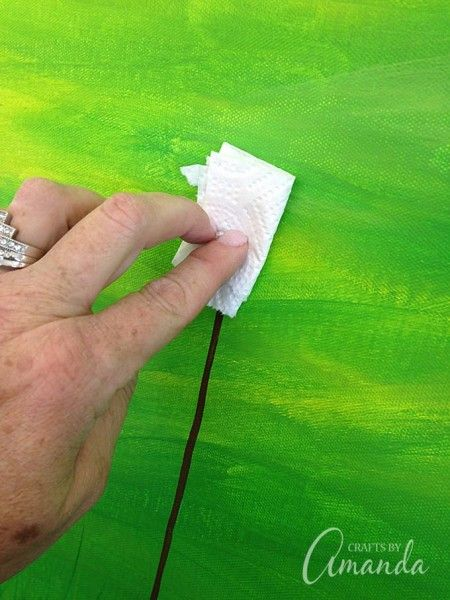Dandelion Painting on Canvas by Amanda Formaro, Crafts by Step 7