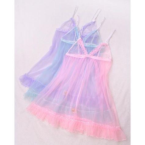 Sheer ruffled babydoll slips- pink blue purple nylon babydolls, ruffly lingerie sets, ruffle lingeri