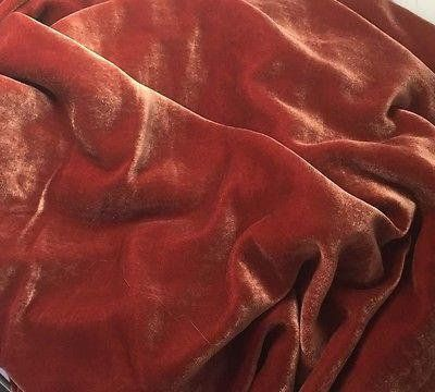 Antique Gold on Dusty Rose Hand Painted Silk Velvet Fabric 1 Yard