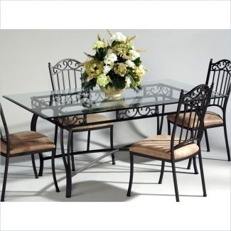 19++ Wrought iron and glass dining table and chairs Best Seller