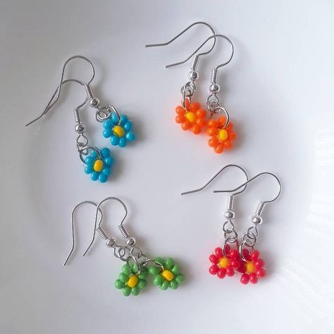 Funky Earrings, Bead Earrings, Bead Jewellery, Polymer Clay Earrings, Earrings Handmade, Handmade Jewelry, Seed Bead Jewelry, Flower Earrings, Statement Earrings