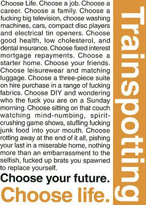 Poster Trainspotting Renton Quote Choose Life Danny Boyle Ebay Trainspotting Choose Life Trainspotting Choose Life